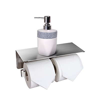 CROWN Toilet Paper Roll Holder with Shelf Stainless Steel Bathroom Double Roll