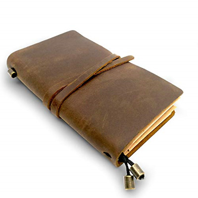 """Handmade Antique Lether Journal Writing Notebook Vintage Diary 6.7"""" x 4"""", Brown"""