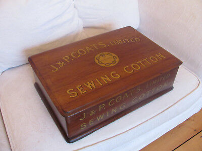 19th C. mahogany J & P COATS SEWING / COTTON ADVERTISING DRAWERS - stunning cond