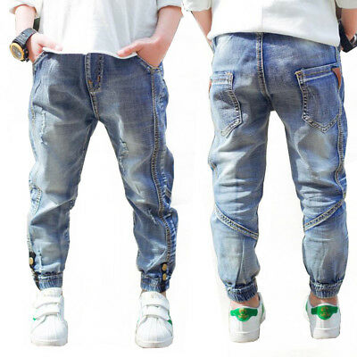 Kids Boys Girls Solid Denim Trousers Patch Casual Pants Skinny Jeans Size 4-10