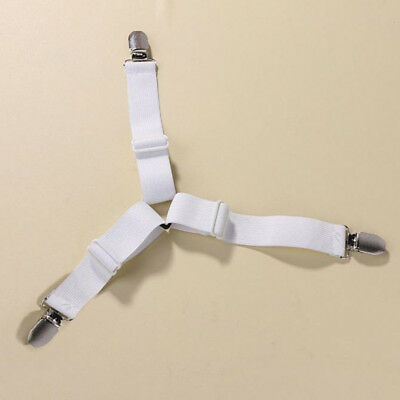 Durable Household Goods 4Pcs Triangle Fastener Straps For Mattress Pads White