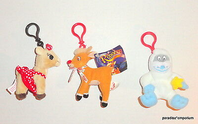 Rudolph the Red Nosed Reindeer Plush Backpack Key Clips Set Lot Build a Bear P69