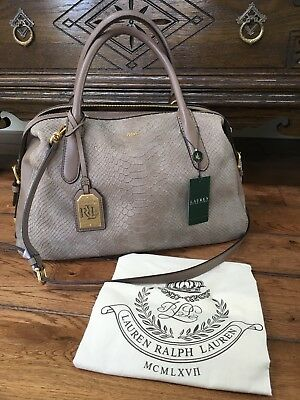 7b493b4575 Ralph Lauren Leather Bag Satchel Taupe Python Benmore New 2 Way Crossbody  398