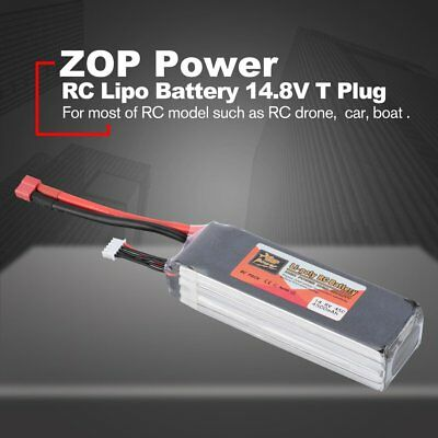 ZOP Power 14.8V 4500mAh 45C 4S 1P Lipo Battery T Plug for RC Drone Boat RC