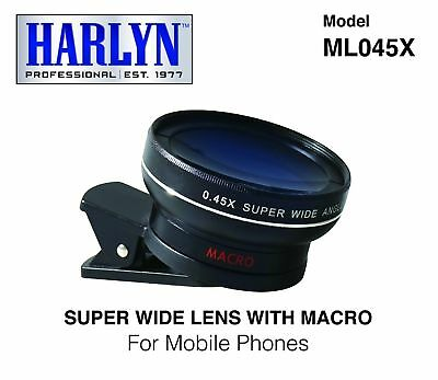 Harlyn ML045X 2-in-1 Cell Phone Camera Lens - High Definition - .45x Super Wide