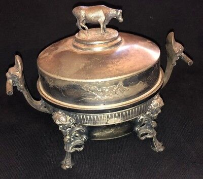 Stunning Antique Rogers Bros Figural Silver Plated & Pewter Butter Dish