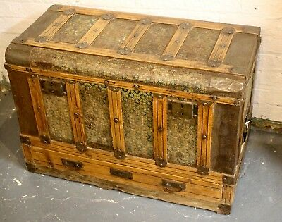 A Late 19th Century Tinplate Pine Trunk With Single Drawer