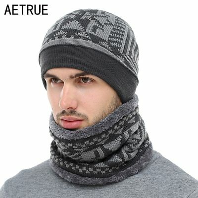 AETRUE 2018 Skullies Beanies Winter Knitted Hat Beanie Scarf Men Winter Hats 321df5a4be3a