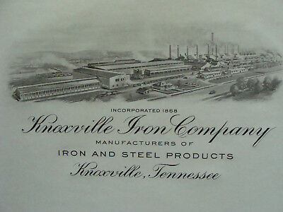 orig 1940s Printing ex. PHOTOGRAVURE Letterhead: KNOXVILLE IRON CO. tennessee