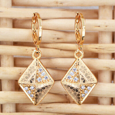 NEW Women Laser Flower 18K Gold Plated CZ Cubic Zirconia Earrings Jewelry Gifts