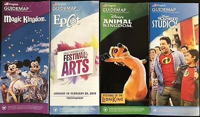 NEW 2018 Walt Disney World Theme Park Guide Maps - 4 Current Maps Free Shipping