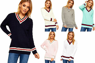 New Ladies Cable Knitted Pullover Womens V Neck Cricket Jumper Plus Size 8-14