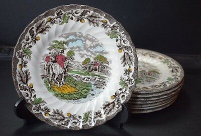 VINTAGE BRITISH STAFFORDSHIRE MYOTTS COUNTRY LIFE BLACK & WHITE  PLATES x 8