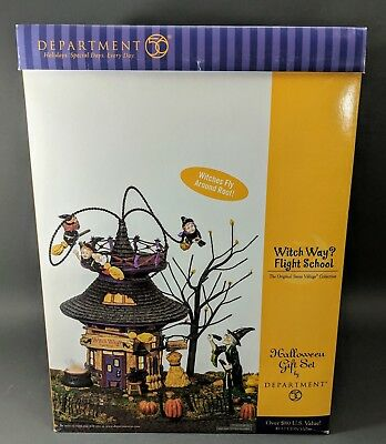 Dept 56 ~ Witch Way Flight School - Halloween Gift Set (55347) **BRAND NEW**