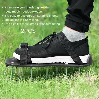 2pcs/set Epoxy Aerating Spikes Shoes Garden Lawn with 4 Adjustable Straps MAWU