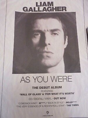 Liam Gallagher As You Were Promotional Poster New Unused