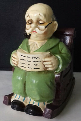 Wind up Musical ceramic rocking chair old man ornament