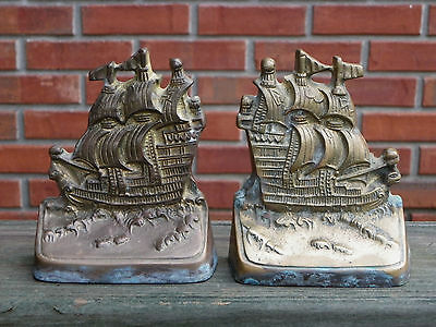 """Vintage Brass 3-Masted Sailing Ship Bookends-5 5/8"""" High"""