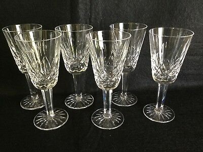"""6 Stunning 5 1/4"""" Tall Waterford Crystal Cordial Wine Stem Glasses"""