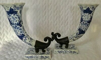 Rare Delft China Horns With Fancy Brass Tips On Delft China Stands