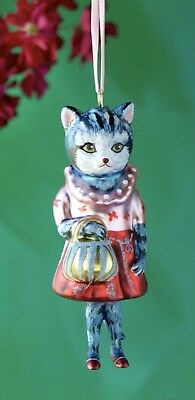 Glitterville Christmas Glass Dressed Cat Ornament Nathalie Lete Anthropologie