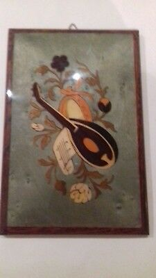 Framed Wood Veneer Folk art Marquetry FLOWERS WITH VILOLIN