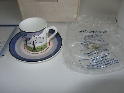 Clarice Cliff Tea Cup & Saucer By Wedgwood Cafe Chic Blue Firs New In Box