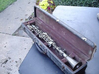 Vintage Turn of the Century Collegiate All Metal Clarinet w Hard Case