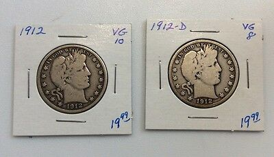 Barber Silver Half Dollars 2-Coin Lot-1912 & 1912-D