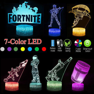 3D Lamp FORTNITE Sign LED Night Light 7 Colors USB Touch Remote Desk Lamp Gifts