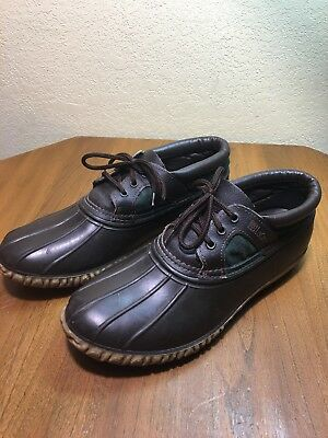 Vtg LACROSSE Mens Duck Boots Brown Dark Green Leather Rubber USA No Sz