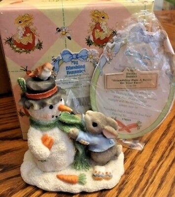 My Blushing Bunnies Friendship Puts A Smile On Your Face Bunny Snowman   Nib