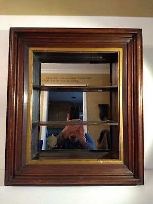 OLDER Small Wood Frame Mirrored Collectibles Display Curio~Hanging/Wall Shelf