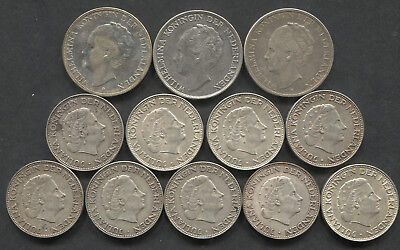 1930-1966 Netherlands Mixed Lot Of Silver. Total 4.86 ASW.