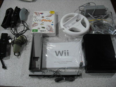 Nintendo Wii Console Black With Mario Kart & Wii Play Plus Controllers Etc