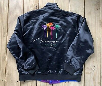 Vintage 90s Mirage Las Vegas Hotel Casino Satin Reversible Jacket Coat Medium