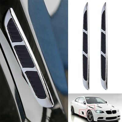 2x 3D Car Chrome Grille Shark Gill Simulation Air Flow Vent Fender Sticker UKL1