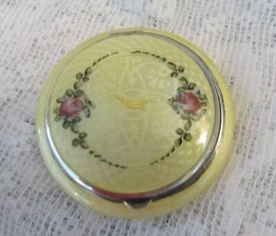 Gorgeous Deco Double sided Guilloche Enamel Compact Buttercup unused
