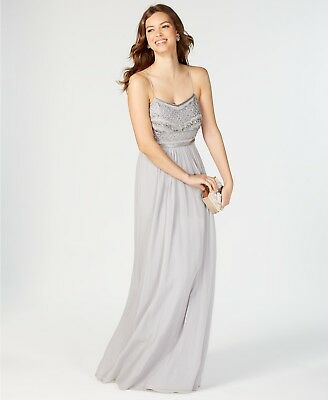 $395 Adrianna Papell Womens Gray Beaded Embellished Chiffon Gown Dress Size 14