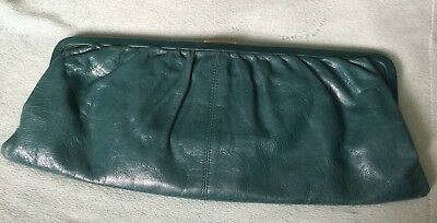 e1be04f59e VINTAGE HOBO INTERNATIONAL Teal Distressed Leather Clutch Wallet w ...