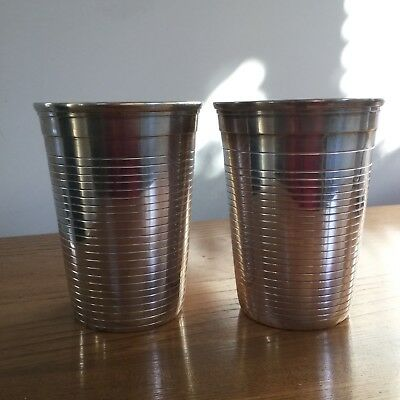 Pair of Large Vintage Antique Plated Beakers Cups Ribbed Design Art Deco