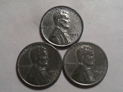 "1943-Pds  Very Nice Lincoln ""steel"" Cent 3-Pc Set!!"
