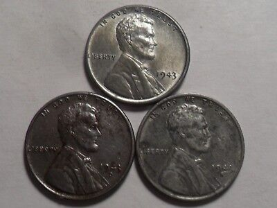 "1943-Pds  Very Nice Lincoln ""steel"" Cent 3-Pc Set!!!"