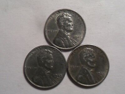 "1943-Pds  Very Nice Lincoln ""steel"" Cent 3-Pc Set!!!!"