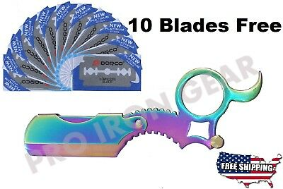 Rainbow Color Professional Knife Razor Barber Salon Straight Cut Throat Shaving