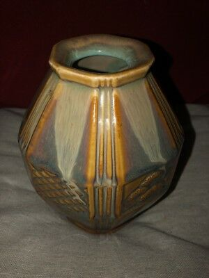 Stylish Art Deco Style Ceramic Vase Of Faceted Panelled Shouldered Form