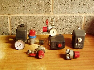 3 used pressure switches & 2 valves from small air compressors, for spares only.