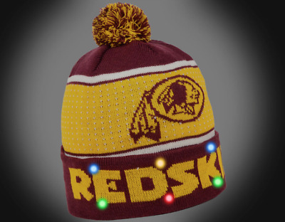 b785ef9c4de Washington Redskins BIG LOGO Light Up Beanie New 2018 Style NFL Winter Cap  Hat