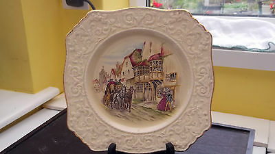 Royal Winton  Cake  Plate Embossed Rim Coach And Horses Passing Through