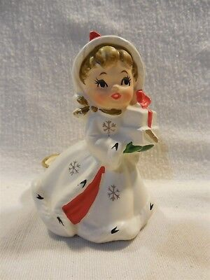 Vintage Napco Japan Christmas Girl with Gifts Candle Holder X-8388